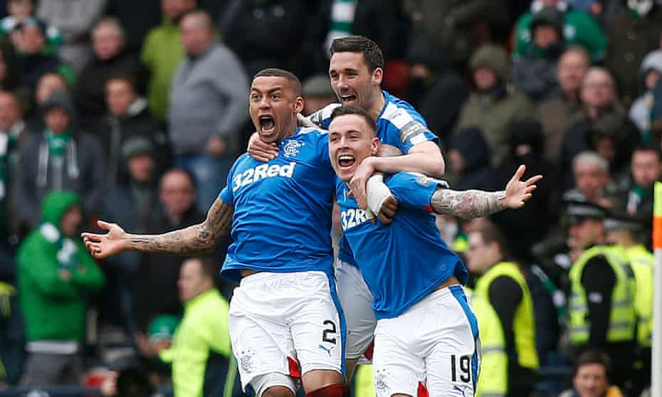 Rangers' Barrie McKay, right, celebrates scoring his side's second goal against Celtic