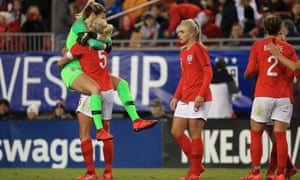 Steph Houghton and Carly Telford of England celebrate victory.