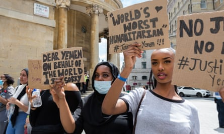 Demonstrators march through central London in a protest against the conflict in Yemen.