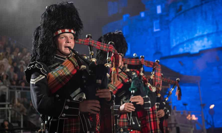 Royal Regiment of Scotland pipers at the Edinburgh military tattoo.