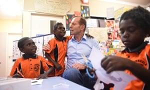 Tony Abbott talks to kindergarden students in Yirrkala school, at Yirrkala on the Gove peninsula.
