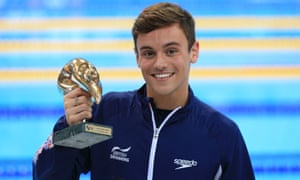 Tom Daley shows off his trophy after winning his second event, the 10m, at the European Championship in London