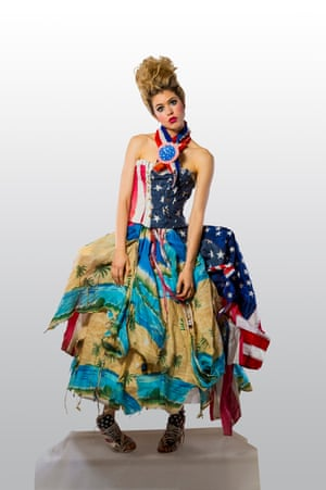 A photo showing clothing by Marina DeBris, who creates clothes from debris which has washed up on the beach. Her work is on show at Festival of the Winds in Bondi, Sydney, Australia in September 2016. 'Old Glory'