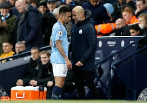 Pep Guardiola has words with Gabriel Jesus after substituting him.