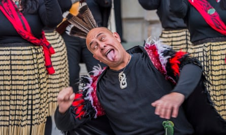 The welcome Haka by members of Ngati Ranana, the London Maori Club Blessing ceremony for Oceania at the Royal Academy.