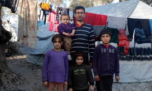 Ali, 33, from Idlib, Syria, with his children