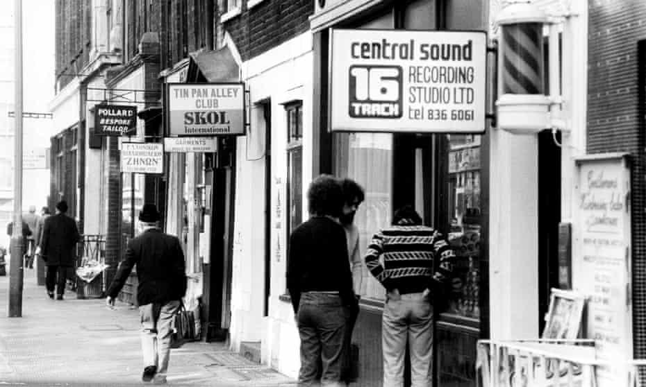Music shops in Denmark Street, aka Tin Pan Alley, in 1975.