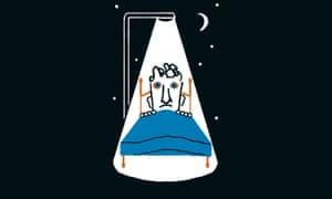illustration of man lying awake in bed