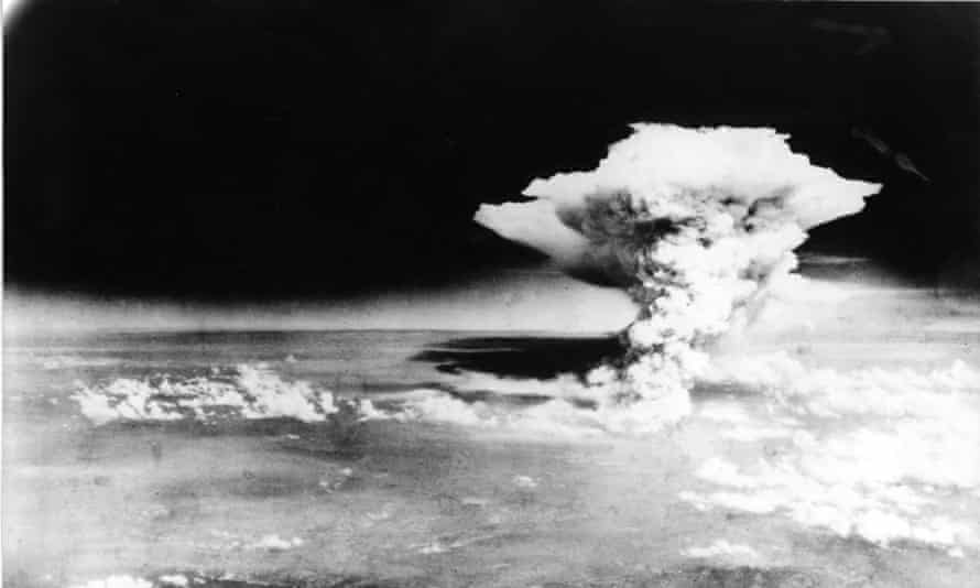 A mushroom cloud of the atomic bomb dropped by B-29 bomber Enola Gay over the city of Hiroshima.