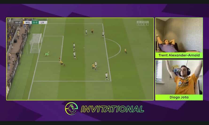 Diogo Jota celebrates scoring the winning goal against Trent Alexander-Arnold in the ePremier League Invitational