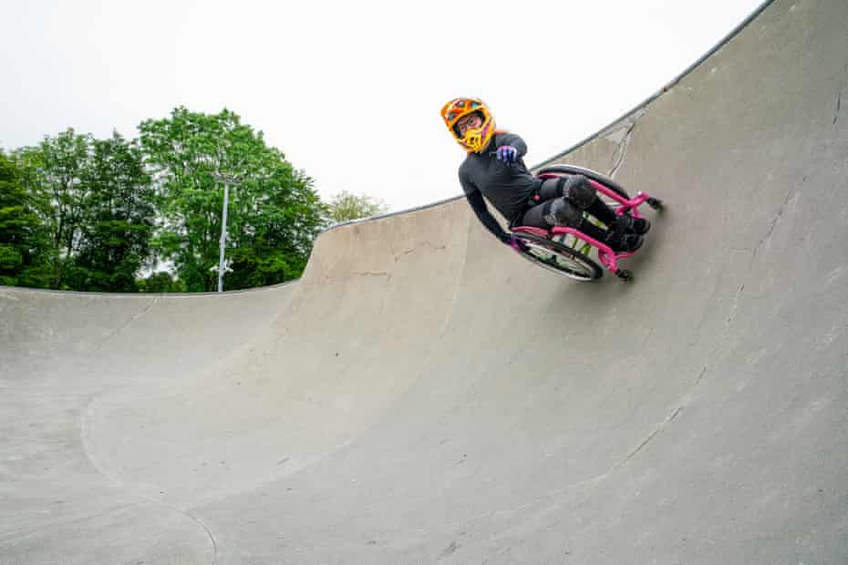 Wheelchair Motocross champion, Lily Rice, from Wales, carves the bowl at Haverfordwest Skatepark.