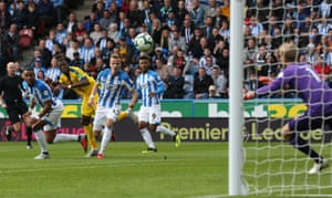 Crystal Palace's Wilfried Zaha shoots past Huddersfield's goalkeeper Jonas Lossl to win away at the John Smith's Stadium. The away team has won all three of the Premier League meetings between Huddersfield and Crystal Palace, making it the fixture with the best 100% record for away team victories in the competition's history.