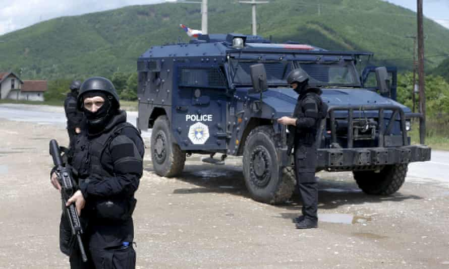 Kosovo police special unit members secure the area in the north.