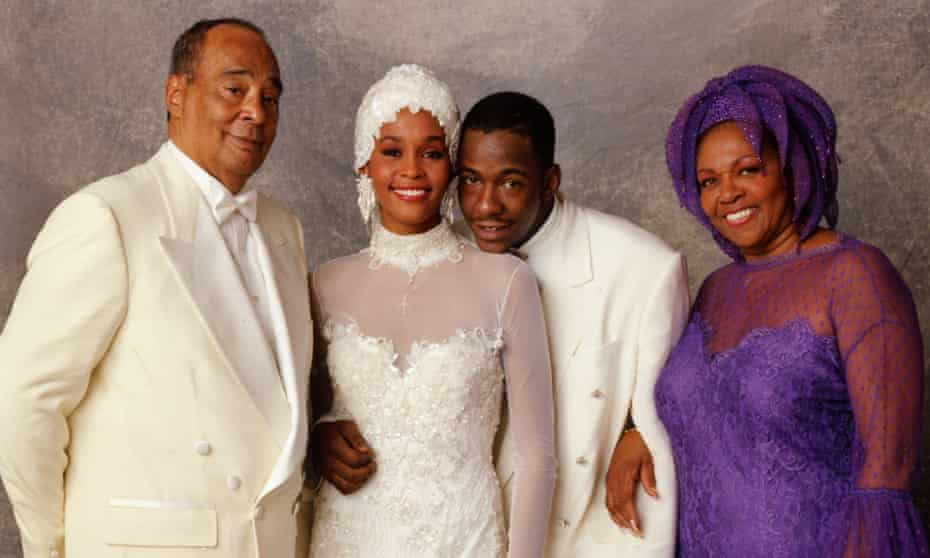 'Ongoing family trauma': Whitney Houston on her wedding day to Bobby Brown, with her parents John and Cissy.