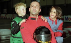 Lily Allen with her brother Alfie and father Keith go-karting in Clapham, London, 1994.
