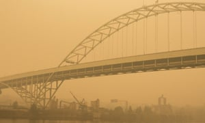 Thick smoke obscures the Fremont Bridge in Portland, Oregon
