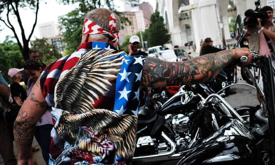 A Bikers For Trump rally for Donald Trump at the Republican National Convention on 18 July 2016 in downtown Cleveland, Ohio.