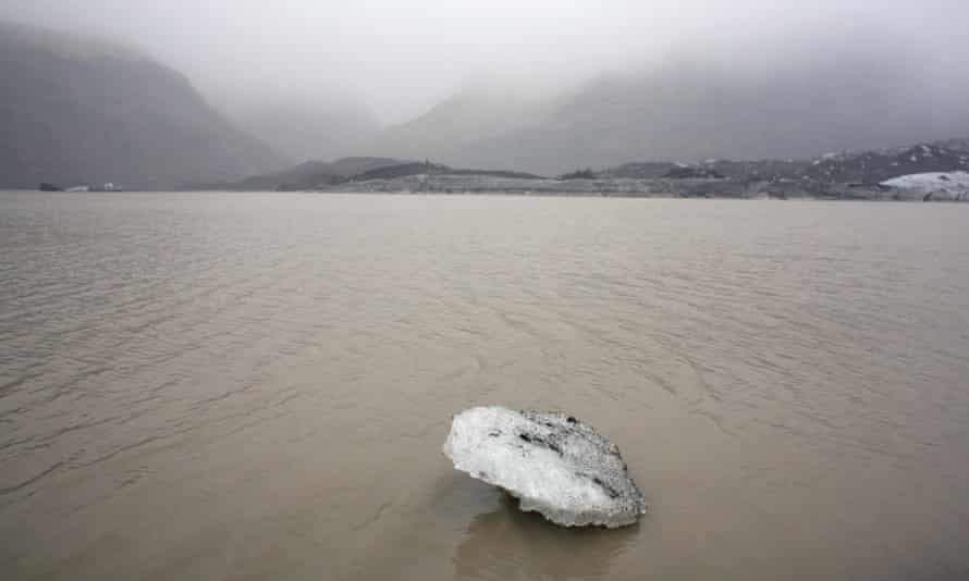 An ice floe in front of the Solheimajokull glacier in Iceland, where the ice has retreated by more than 1km since annual measurements began in 1931. Current international commitments on greenhouse gas emissions expire in 2020.