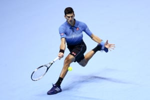Djokovic reaches for a forehand.