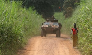 A French armoured vehicle patrols in Sibut, north of Bangui, in Central African Republic.