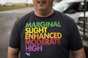 Briton Paul Botten, who brings UK weather enthusiasts on storm chasing tours to the United States, wears a t-shirt displaying severe weather threat levels.