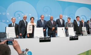 At the welcoming ceremony (l-r): Hoesung Lee, chairman of the Intergovernmental Panel on Climate Change; Ashok-Alexander Sridharan, mayor of Bonn; UNFCCC executive secretary, Patricia Espinosa; Jan Szyszko, minister of environment, Poland, and incoming COP24 president; Frank Bainimarama, COP 23 president; Salaheddine Mezouar, Moroccan foreign minister and president of COP22; Barbara Hendricks, German environment minister, and Petteri Taalas, secretary-general, World Meteorological Organization.