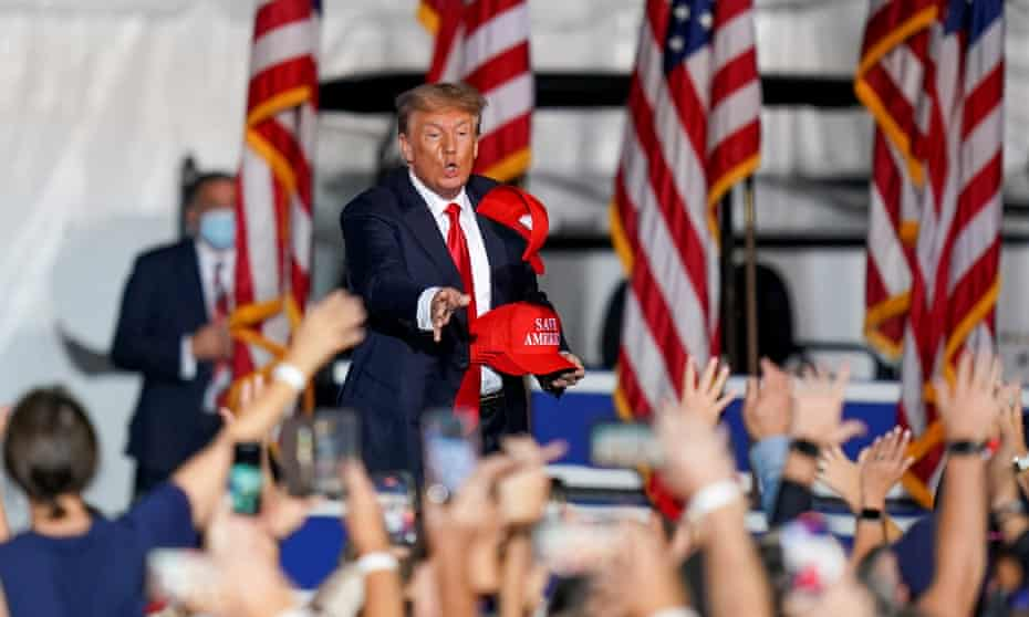 Trump at a rally in Cullman, Alabama in late August. At the rallies, when Republican politicians or supporters urge him to run again to right this perceived injustice, he keeps the prospect boiling tantalisingly by neither agreeing nor ruling it out.