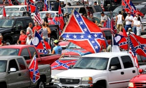 Hundreds of pro-Confederate flag and gun supporters rally at Stone Mountain Park, Atlanta, in August 2015.