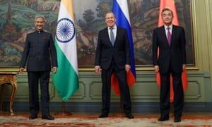 India's foreign minister Subrahmanyam Jaishankar, Russia's Sergei Lavrov and China's Wang Yi (L-R) hold a trilateral meeting in Moscow.