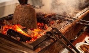 The grill at Zübeyir Ocakbaşı restaurant in central Istanbul
