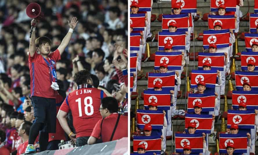 South Korea and North Korea football fans.