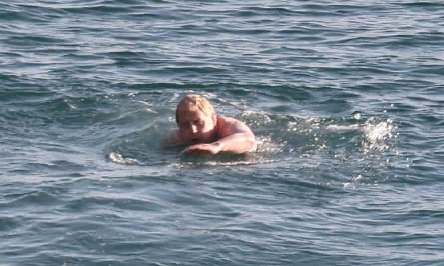 Boris Johnson swims in Carbis Bay, Cornwall