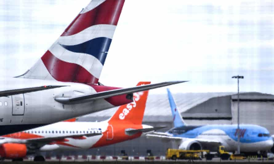 British Airways, easyJet and Tui planes at Gatwick airport