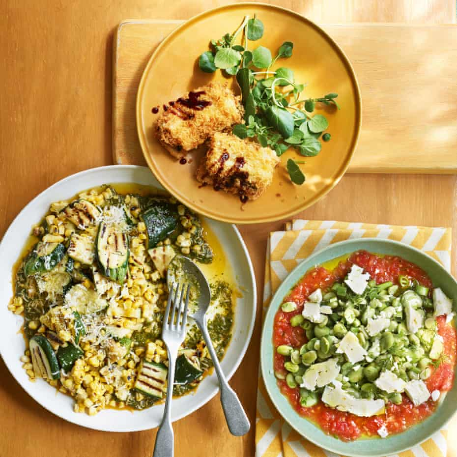 Courgette, sweetcorn and chermoula; Swiss chard sandwich; broad bean, dill and tomato salad.