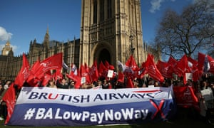 British Airways workers protest agains 'poverty pay'