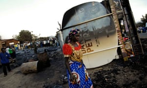 An image from 2010 when more than 200 people were killed when a tanker truck overturned and caught fire in South Kivu province.