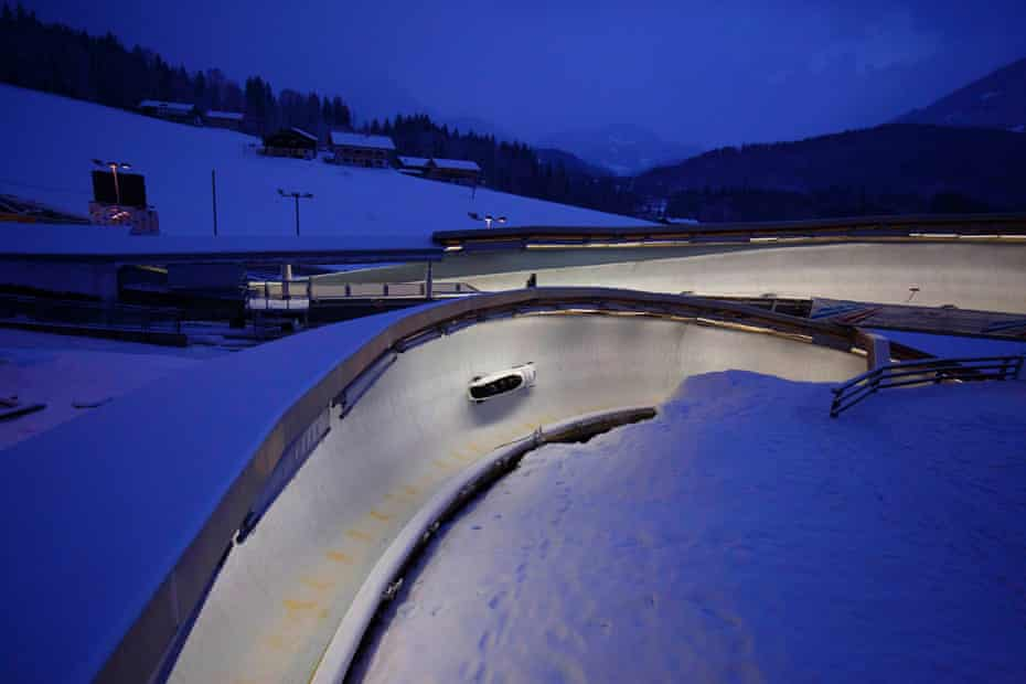 The four-man Russian bobsleigh team, who are banned from competing at the forthcoming Winter Olympics, descend the course during the IBSF World Cup event at the Konigssee track in January 2018