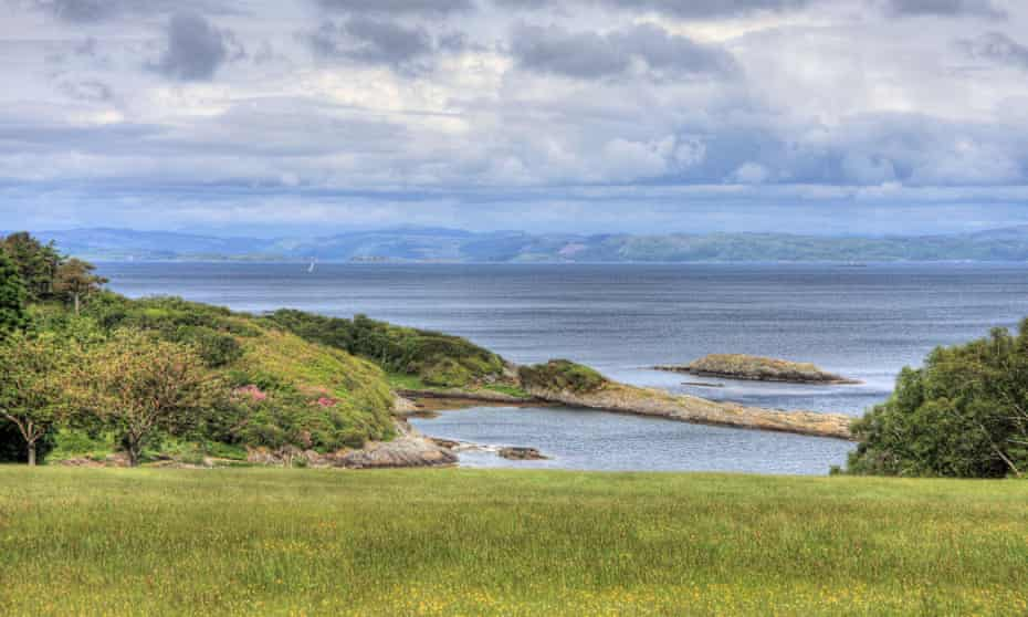 Looking down to Ardlussa Bay on Isle of Jura, Southern Inner Hebrides, Scotland