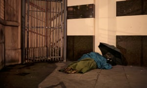 Rough sleepers near Charing Cross, Central London.
