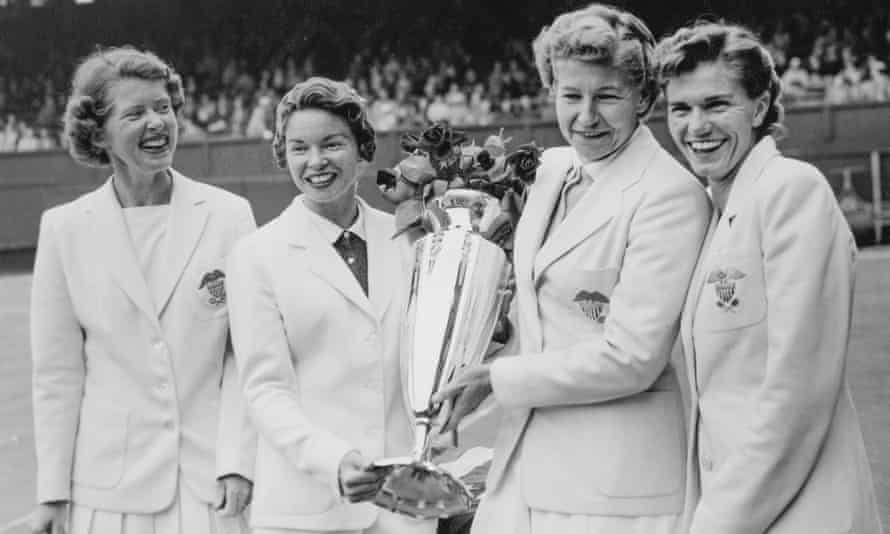 Shirley Fry, far right, with members of the winning 1956 US Wightman Cup team, from left, Dorothy Head Knode, Beverly Baker Fleitz and Louise Brough, at the All England Lawn Tennis and Croquet Club in Wimbledon, London.