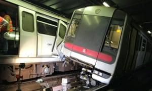 Two damaged trains in Hong Kong