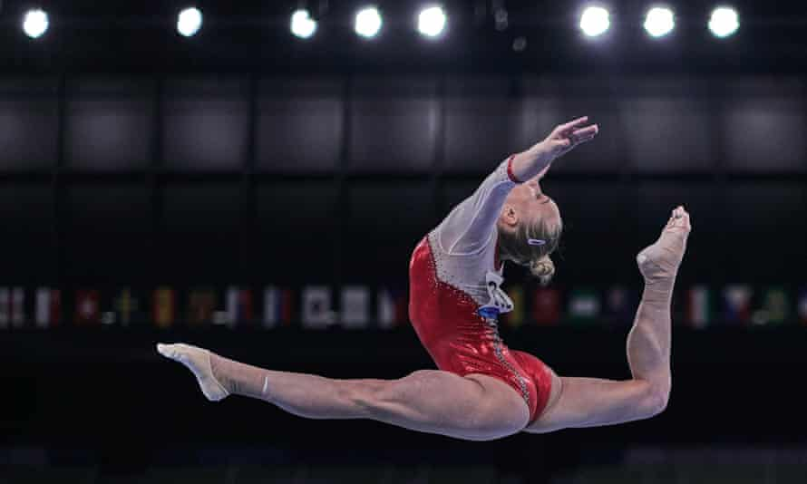 Angelina Melnikova finished six tenths behind Biles in the all around competition.