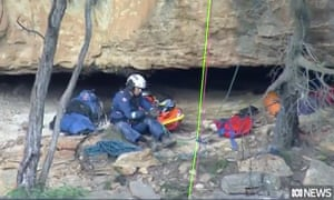 rescue workers on cliff