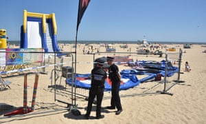 Police cordon around the Bounce About play area at Gorleston beach.