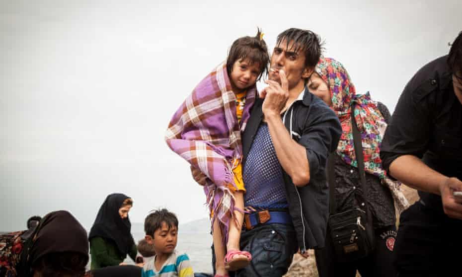 Refugees after landing on Lesbos, July 2015.