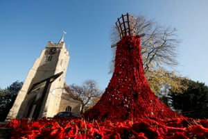 Chatteris, UK. A poppy display for remembrance commemorations at the parish church of St Peter and St Paul in Cambridgeshire