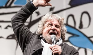 Beppe Grillo at a political rally in 2013