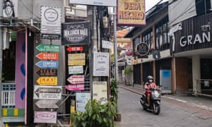 An empty street in a tourist area of Kuta in Bali, Indonesia, on Monday.