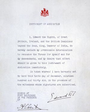 Edward VIII's abdication letter, which freed the way for him to marry Wallace Simpson.