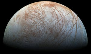 A view of Jupiter's moon Europa created from images taken by the Galileo spacecraft in the late 1990s